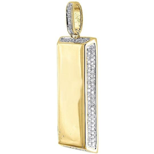 Jewelry For Less Round Diamond Bar Pendant .925 Sterling Silver Dog Tag Charm 0.55 Ct.