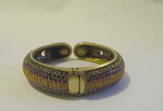 "Heidi Daus Authentic Heidi Daus ""Captivating Couture"" Swarovski Crystal-Accented Hinged Cuff Bracelet size 7"