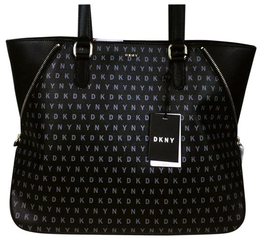 Preload https://img-static.tradesy.com/item/22855310/dkny-log-black-leather-tote-0-1-540-540.jpg