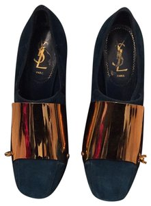 Saint Laurent Gold Ysl Yvessaintlaurent Seude Shiny Dark Teal Green Pumps