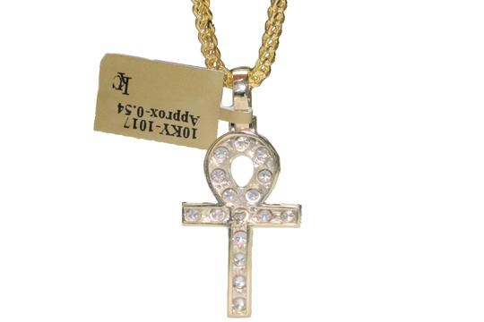 Other Diamond 10 K Yellow Gold Franco Chain with Diamond Ankh Charm Pendant