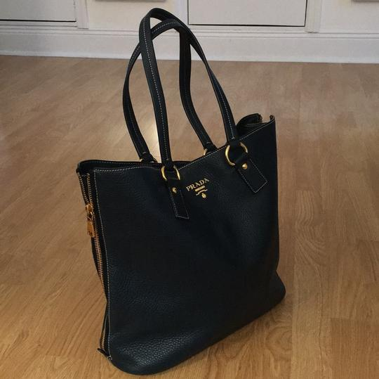 Prada Tote in Blue / Gold