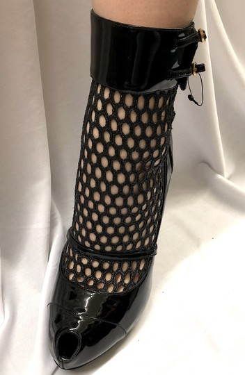 Alexander McQueen Bdsm Dominatrix Peep Toe Pumps Mesh Black Boots