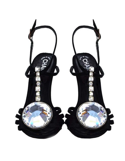 Chanel Satin Crystal Strappy Heels black Sandals