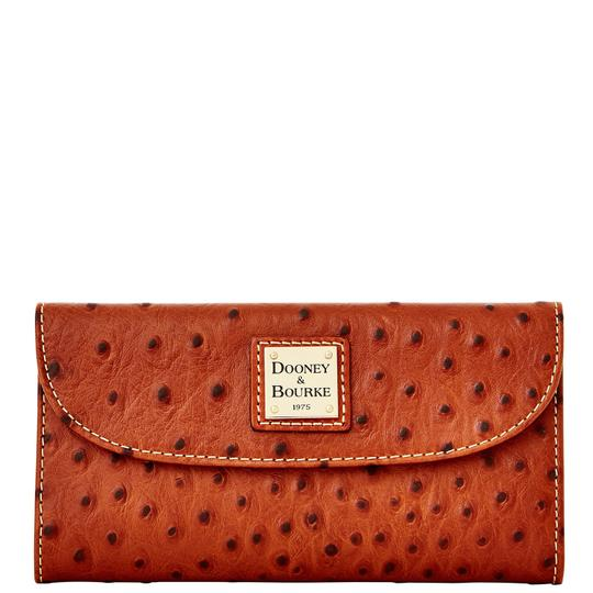 Preload https://item4.tradesy.com/images/dooney-and-bourke-cognac-ostich-emb-leather-continental-wallet-22855408-0-0.jpg?width=440&height=440