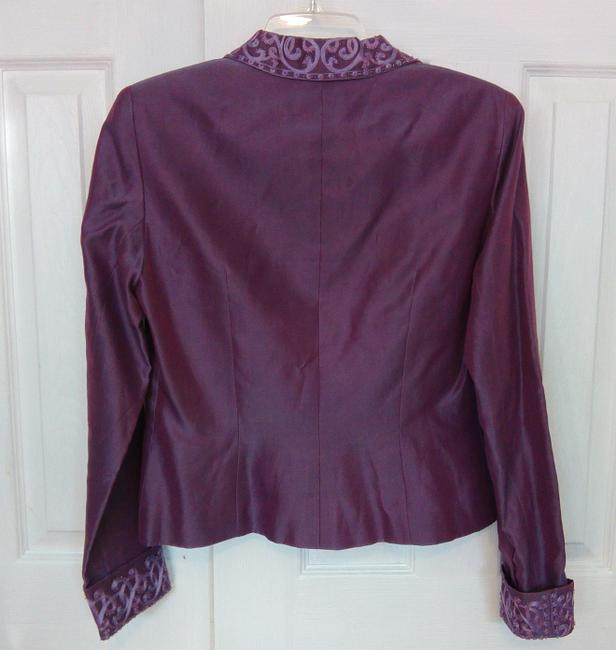 Kay Unger Embroidered Silk Beaded Beaded Formal Purple Blazer