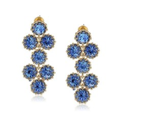 Kate Spade Blue and Gold Crystal & Dangling Chandelier Earrings