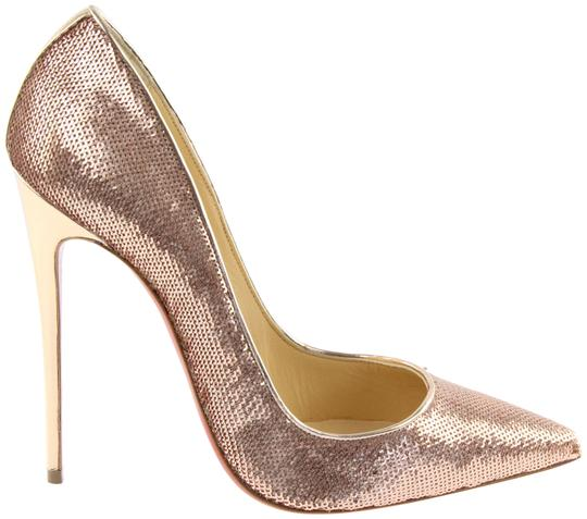 Christian Louboutin Rose Gold Sequin Glitt4er Metallic Nude Pumps
