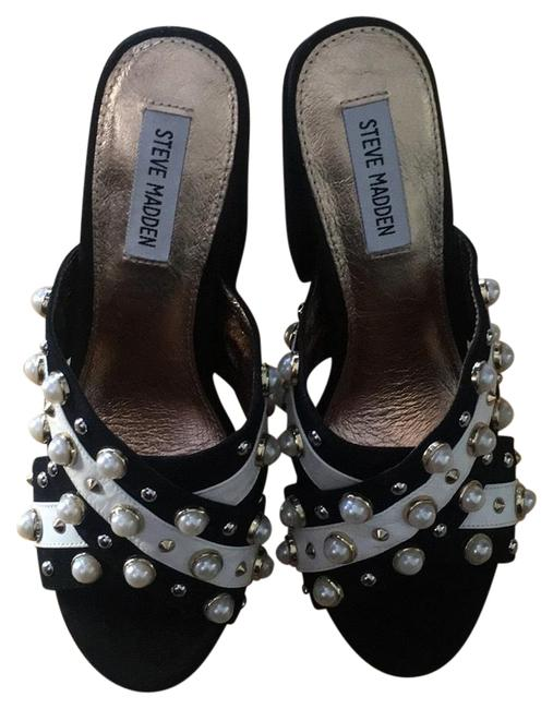 Steve Madden Black/White Cove Sandals Size US 8 Regular (M, B) Steve Madden Black/White Cove Sandals Size US 8 Regular (M, B) Image 1