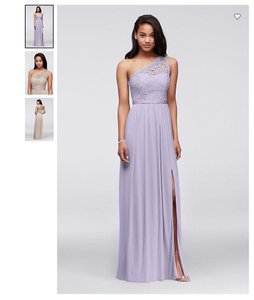 David's Bridal Iris Long One Shoulder Lace - F17063 Formal Bridesmaid/Mob Dress Size 2 (XS)