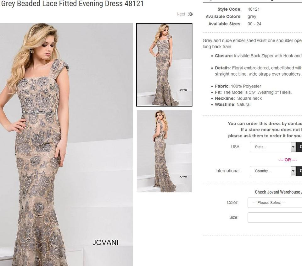 69281999120b Jovani Grey On Nude Polyester Embroidered Embellished Waist Beaded Lace Fitted  Evening 48121 Formal Bridesmaid/ ...