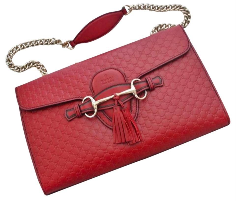 330288b4c56 Gucci Emily Medium Chain Red Microguccissima Leather Shoulder Bag ...