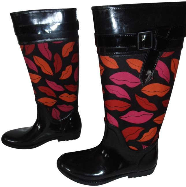 Diane von Furstenberg Black W Dvf Rain W/Lip Pattern New Boots/Booties Size US 7 Regular (M, B) Diane von Furstenberg Black W Dvf Rain W/Lip Pattern New Boots/Booties Size US 7 Regular (M, B) Image 1