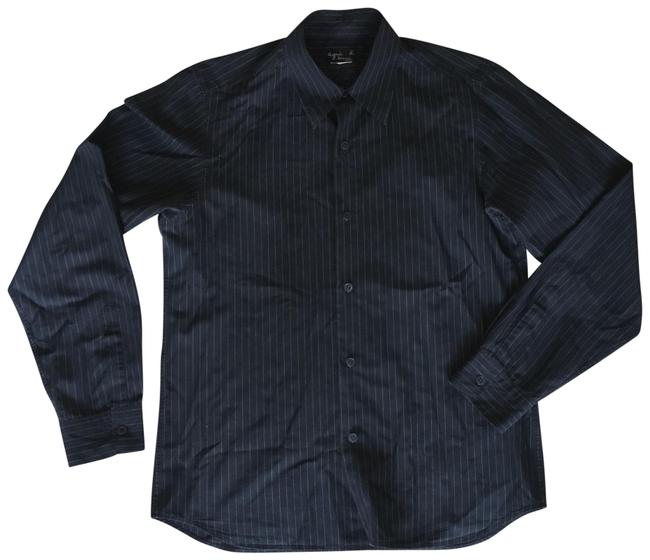 Preload https://img-static.tradesy.com/item/22855949/agnes-b-black-pinstripe-men-s-dress-shirt-button-down-top-size-12-l-0-1-650-650.jpg