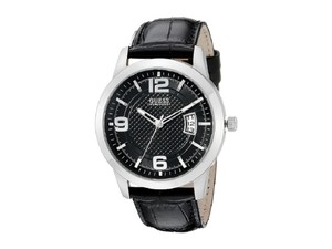 Guess Guess Men Watches Quartz Analog Date Black Leather #U0494G6