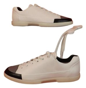 Prada White Black Gray Men S Leather Cup Toe Lace Sneakers 7 5 Us 8 Shoes