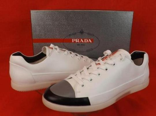 Prada White Black Gray Men's Leather Cup Toe Lace Sneakers 7.5 Us 8.5 Shoes