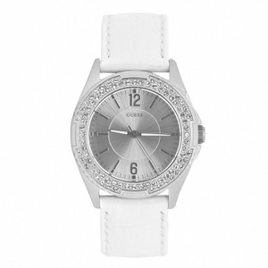 Guess Guess Women's W0069L1 White Leather Quartz Watch with Silver Dial