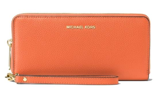 Preload https://item5.tradesy.com/images/michael-kors-orange-mercer-travel-continental-leather-wristlet-wallet-22856099-0-0.jpg?width=440&height=440