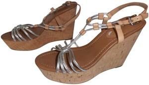 Coach New Without Box Wedge Metallic silver Sandals