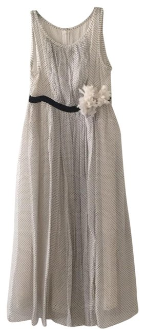 Charles Chang Lima White with Tiny Black Polka Dots Chiffon Mid-length Night Out Dress Size 6 (S) Image 0