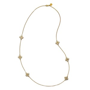 Tory Burch Brand New Tory Burch Rope Clover Swarovski Pearl Rosary Necklace - item med img