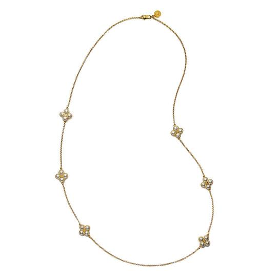Preload https://item2.tradesy.com/images/tory-burch-gold-rope-clover-swarovski-pearl-rosary-necklace-22856181-0-0.jpg?width=440&height=440