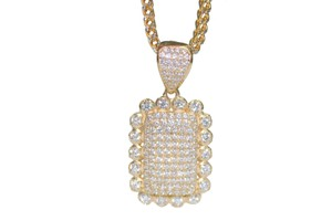 Other 14K Yellow Gold Two-Tone Franco Chain with Cubic Zirconia Charm