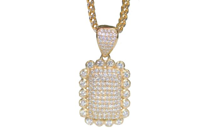 Yellow Gold 14k Two-tone Franco Chain with Cubic Zirconia Charm Necklace Yellow Gold 14k Two-tone Franco Chain with Cubic Zirconia Charm Necklace Image 1