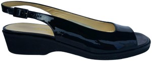 Salvatore Ferragamo Leather Slingback Sandals Black Flats