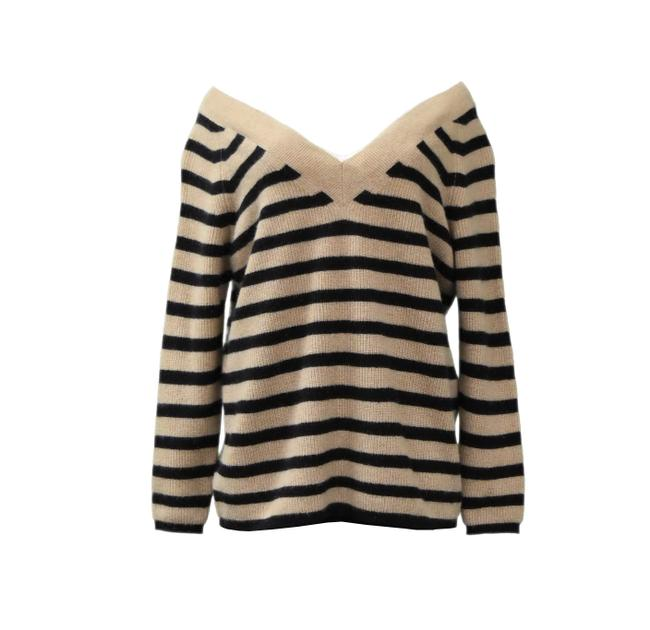 Preload https://item3.tradesy.com/images/minnie-rose-camelblack-v-neck-cashmere-sweaterpullover-size-2-xs-22856302-0-0.jpg?width=400&height=650