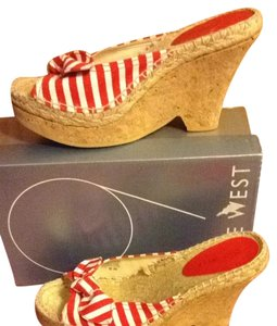 Nine West Red/White Canvas Mules