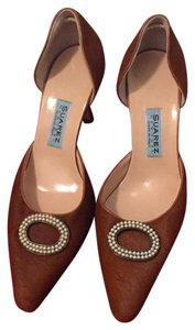 Suarez Hair Pearls Open Stylish Light Brown Pumps