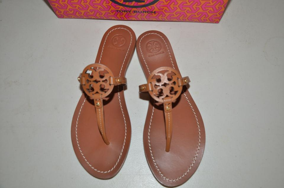 0dafbe63f457 Tory Burch Royal Tan New Mini Miller Flat Leather Bag Sandals Size ...