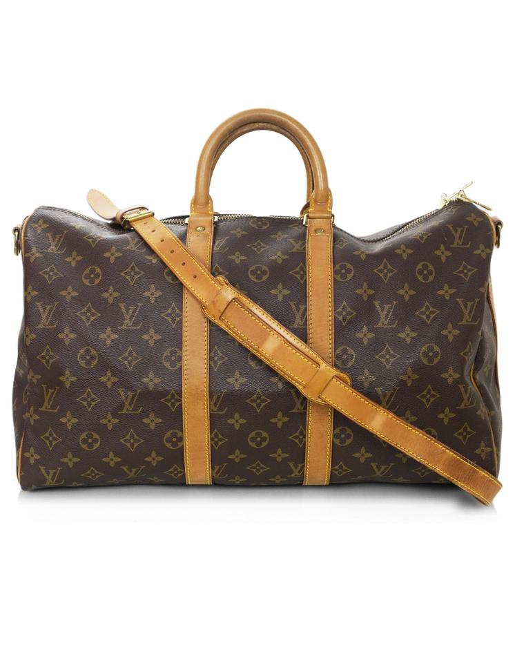 louis vuitton keepall vintage monogram bandouliere 55 brown coated canvas weekend travel bag. Black Bedroom Furniture Sets. Home Design Ideas