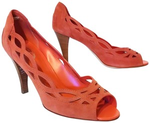 Tod's Peep Toe Cut-out Suede Coral Pumps