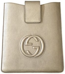 Gucci Golden Metallic Soho leather iPad case tech accessory