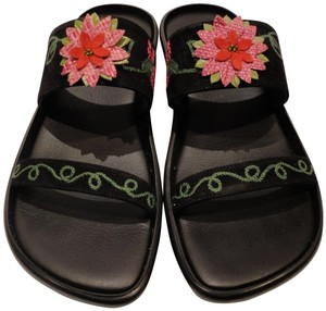 Donald J. Pliner Embroidered Suede Floral Black Sandals