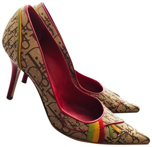 Dior tan + brown w/ red, yellow, green accents Pumps