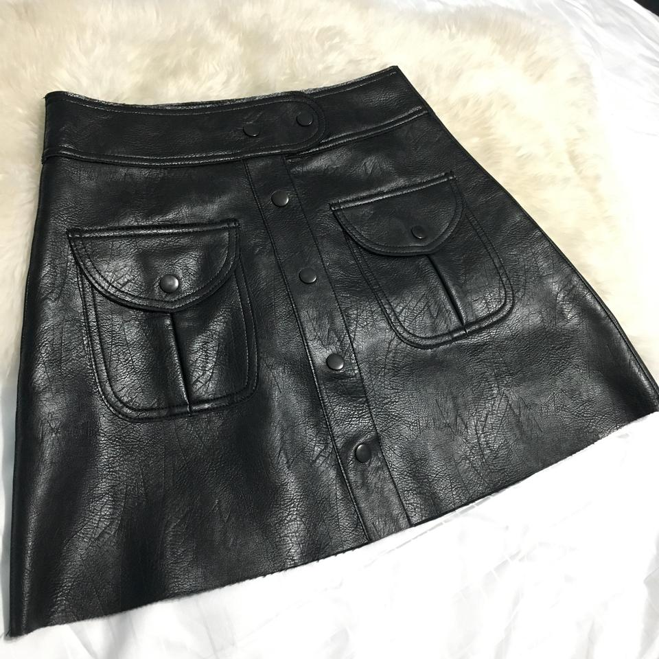 1dce1a204 Zara Faux Leather Black Button Up Skirt Size 4 (S, 27) - Tradesy