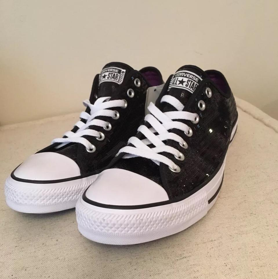 bc1b8b46be5934 Converse Black White All Stars Sequin Bling Tennis Sneakers Size US ...