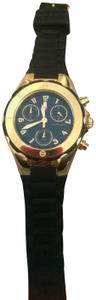 Michele Gold Jelly Bean Chronograph Watch with Black band