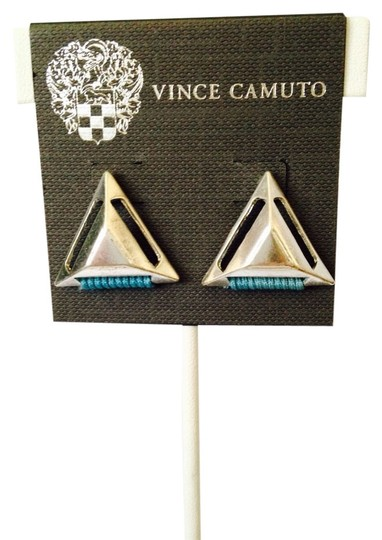 Vince Camuto NWOT Silver-Tone Triangles & Turquoise Cord Stud Earrings