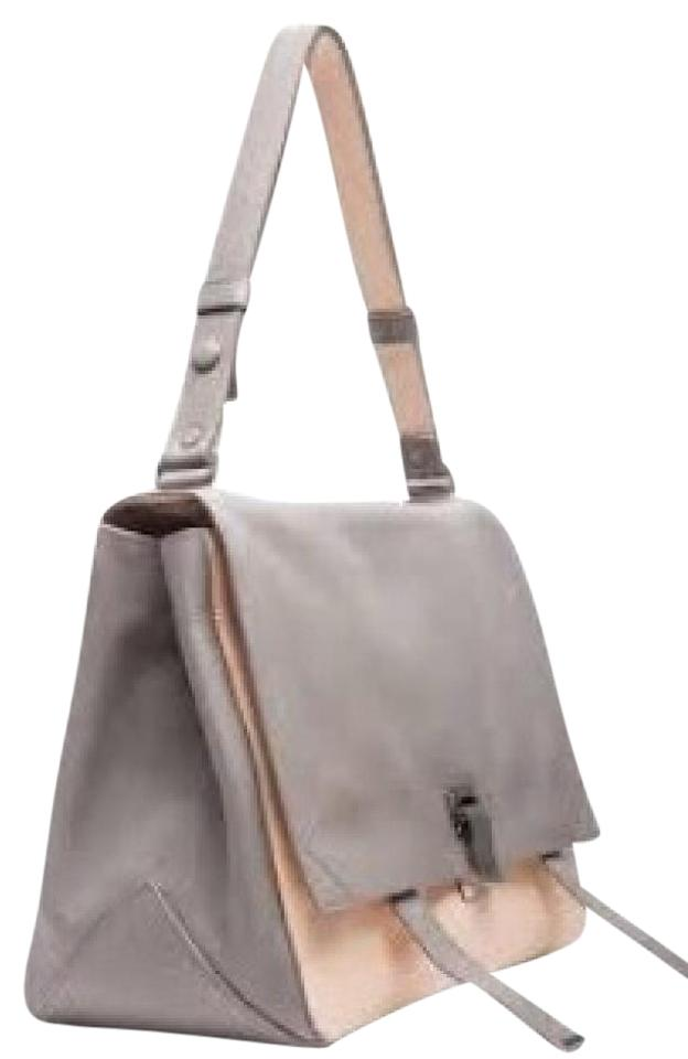Proenza Schouler Ps Large Courier Once Worn. Adjustable Strap. Grey and  Natural Leather Shoulder Bag 8996f94a06c83