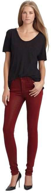 Item - Red Coated Rocket Leatherette Skinny Jeans Size 26 (2, XS)