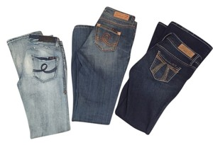 Three Pairs of Seven Jeans Flair Flare Leg Jeans-Distressed