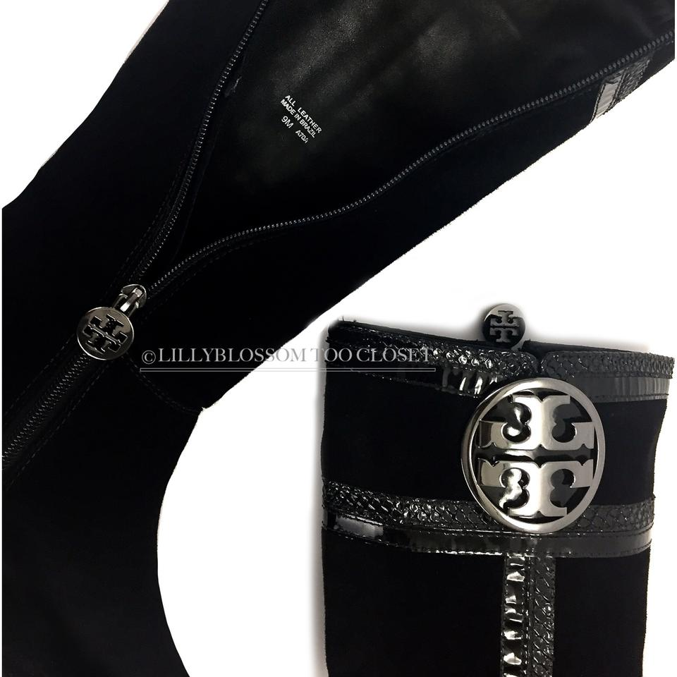 d3009790fc0a Tory Burch Classic Casual Suede Logo Comfortable Black Boots Image 8.  123456789