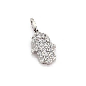 Cartier Good Luck Hamsa Hand of God 1.50 Diamond 18k White Gold Charm