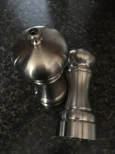 Crate & Barrel Stainless Steel Tall Salt Pepper Casual China