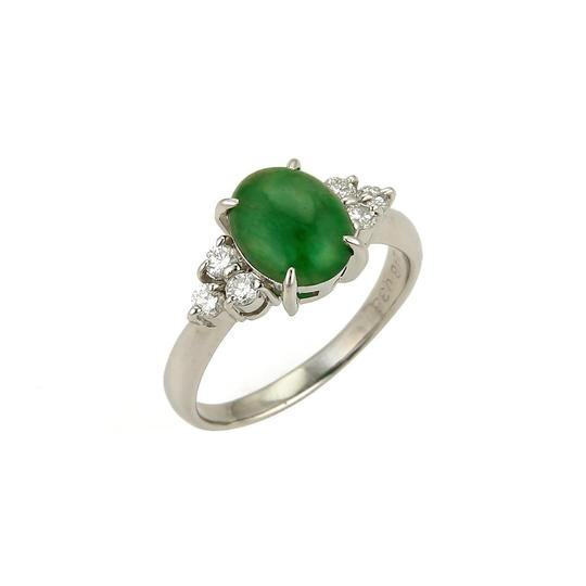 Other Platinum 2.53ct Diamond & Oval Jade Ring Image 0
